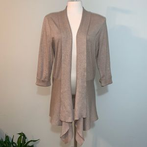 Open front draped neutral cardigan
